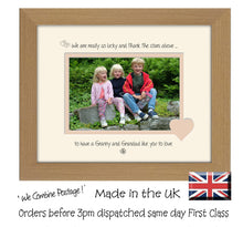 "Granny & Grandad Photo Frame - We Thank the stars Granny & Grandad Landscape photo frame 6""x4"" photo 830F 9""x7"" mount size  , Choices of frames & Borders"
