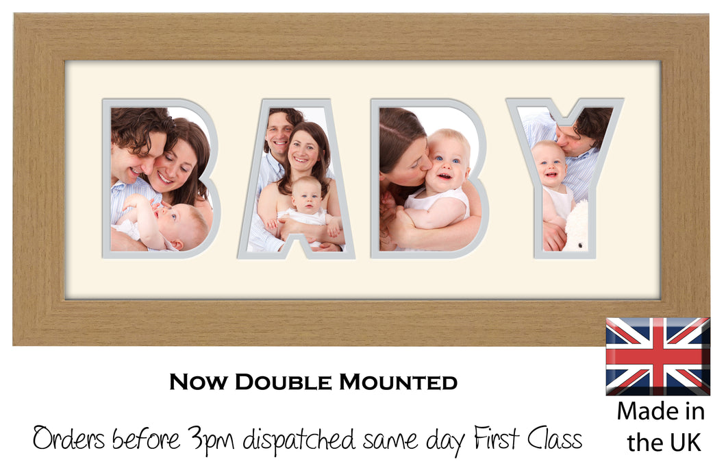 Baby Photo Frame - Baby Word Photo Frame 23BB 375mm x 151mm mount size  , Choices of frames & Borders