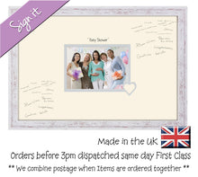 "Baby Shower Photo Frame for Signing Signature for Guest Takes 7""x5"" Photo by Photos in a Word 450mm x 297mm mount size 919D  , Choices of frames & Borders"