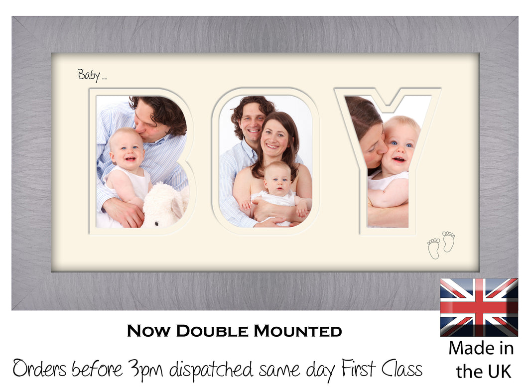 Baby Boy Photo Frame - Baby Boy Word Photo Frame 10AA 297mm x 151mm mount size  , Choices of frames & Borders