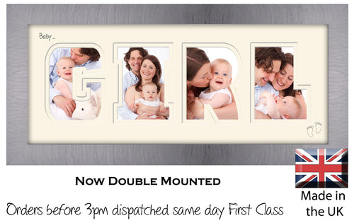 Baby Girl Photo Frame - Baby Girl Word Photo Frame 8-BB 375mm x 151mm mount size  , Choices of frames & Borders