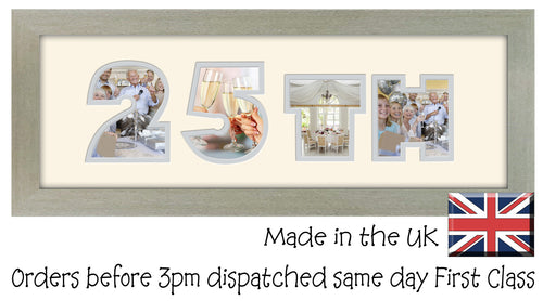 25th Birthday Anniversary Double Mounted Photo Frame 450mm x 151mm mount size  , Choices of frames & Borders