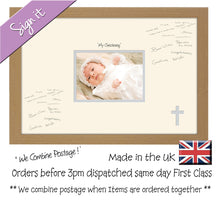 "My Christening (cross) Photo Frame for Signing Signature for Guest Takes 7""x5"" Photo by Photos in a Word 450mm x 297mm mount size 918D  , Choices of frames & Borders"