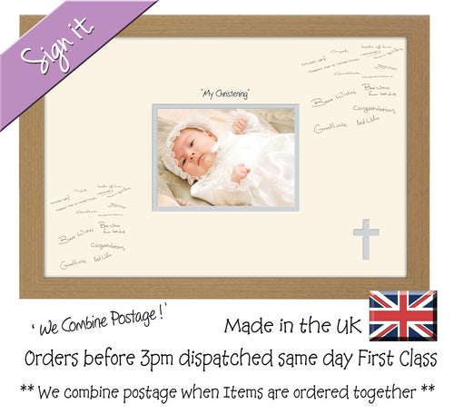 My Christening (cross) Photo Frame for Signing Signature for Guest Takes 7