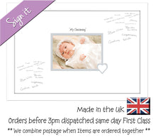 "My Christening (heart) Photo Frame for Signing Signature for Guest Takes 7""x5"" Photo by Photos in a Word 450mm x 297mm mount size 918D  , Choices of frames & Borders"
