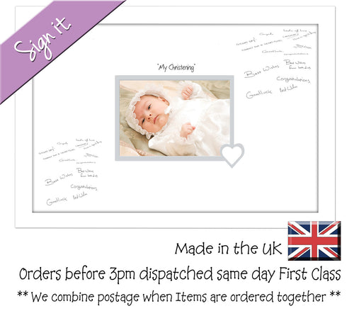 My Christening (heart) Photo Frame for Signing Signature for Guest Takes 7