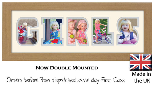 Girls Photo Frame - Girls Word Photo Frame 28A 450mm x 151mm mount size  , Choices of frames & Borders