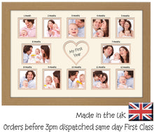 My First Year Photo Frame Double Mounted 513D 450mm x 297mm mount size  , Choices of frames & Borders