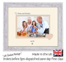 "Nanny & Grandad Photo Frame - Nanny and Grandad… ...and us! Landscape photo frame 6""x4"" photo 755F 9""x7"" mount size  , Choices of frames & Borders"