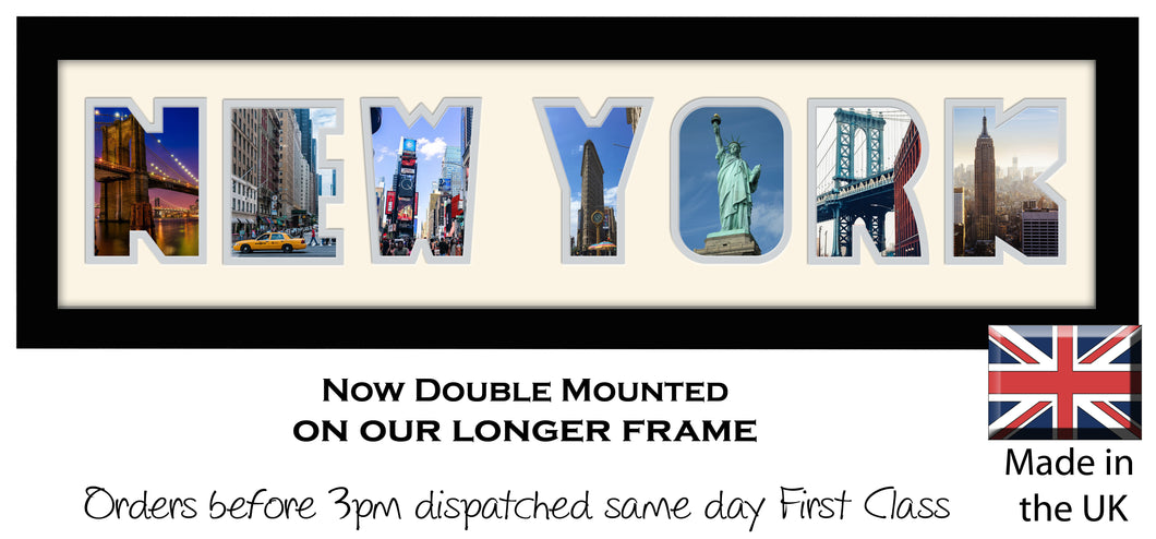 New York Photo Frame - New York Holiday Word Photo Frame 1260DD 640mm x 151mm mount size  , Choices of frames & Borders