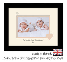 "Great Grandchildren Photo Frame - Our precious Great Grandchildren Landscape photo frame 6""x4"" photo 729F 9""x7"" mount size  , Choices of frames & Borders"
