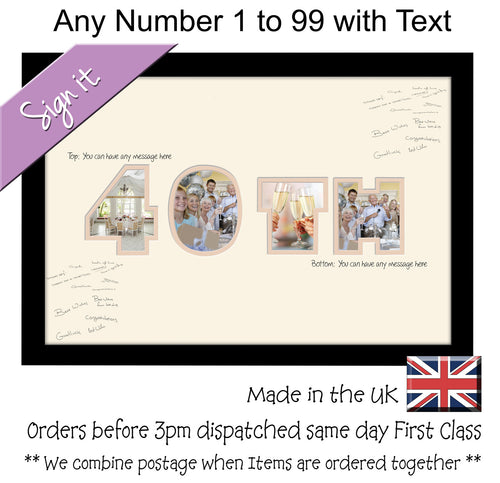 Personalise 1 to 99 with Message Signing Number Guest Signature Photo Frame Gift 450mm x 297mm mount size  , Choices of frames & Borders