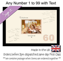 "Personalise Signing Guest Signature Photo Frame Gift Number Birthday Anniversary 7""x5"" Aperture Photo 917D 450mm x 297mm mount size  , Choices of frames & Borders"