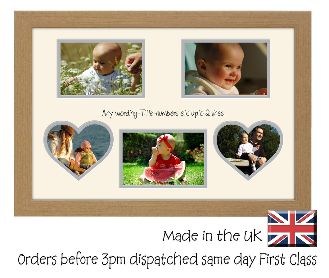 Personalise Multi Aperture Photo Frame Gift 2 Heart 3 Boxes Aperture for 6