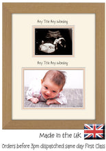 "Custom Name Scan Double Mount Baby Photo Frame 203mm x 254mm 8""x10"" mount size , Choices of frames & Borders"
