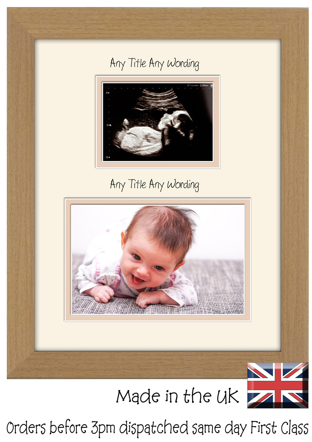 Custom Name Scan Double Mount Baby Photo Frame 203mm x 254mm 8
