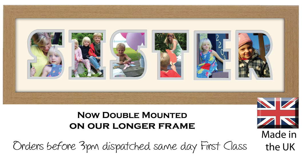 Sister Photo Frame - Sister Word Photo Frame 32CC 545mm x 151mm mount size  , Choices of frames & Borders