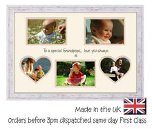 Grandpops Photo Frame - Special Grandpops Multi Aperture Photo Frame Double Mounted 5BOXHRTS 631D 450mm x 297mm mount size  , Choices of frames & Borders