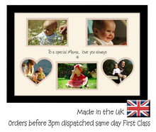 Mama Photo Frame - Special Mama Multi Aperture Photo Frame Double Mounted 5BOXHRTS 551D 450mm x 297mm mount size  , Choices of frames & Borders