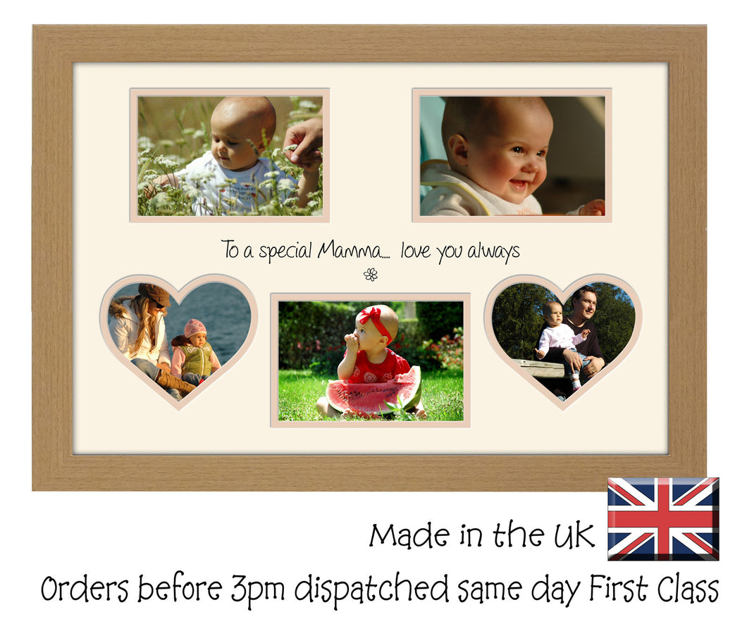 Mamma Photo Frame - Special Mamma Multi Aperture Photo Frame Double Mounted 5BOXHRTS 554D 450mm x 297mm mount size  , Choices of frames & Borders