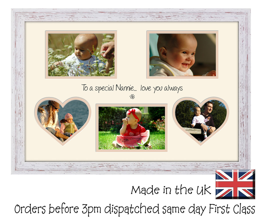 Nannie Photo Frame - Special Nannie Multi Aperture Photo Frame Double Mounted 5BOXHRTS 545D 450mm x 297mm mount size  , Choices of frames & Borders