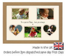 Papa Photo Frame - Special Papa Multi Aperture Photo Frame Double Mounted 5BOXHRTS 616D 450mm x 297mm mount size  , Choices of frames & Borders