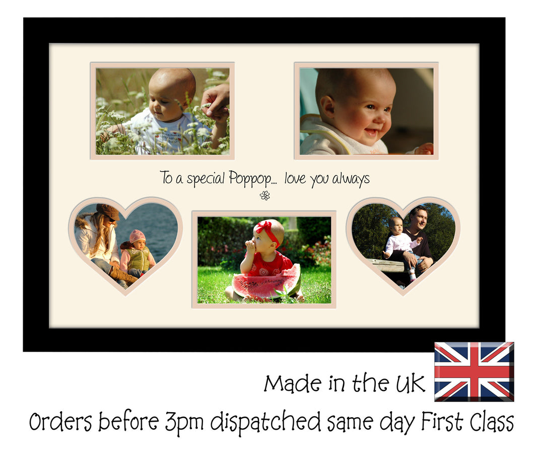 PopPop Photo Frame - Special PopPop Multi Aperture Photo Frame Double Mounted 5BOXHRTS 620D 450mm x 297mm mount size  , Choices of frames & Borders