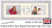 "13th Birthday Photo Frame Thirteenth Gift Takes Two 6""x4"" Landscape Photos 1218A 450mm x 151mm mount size  , Choices of frames & Borders"