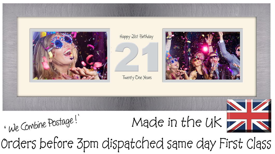 "21st Birthday Photo Frame Twenty First Gift Takes Two 6""x4"" Landscape Photos 1221A 450mm x 151mm mount size  , Choices of frames & Borders"