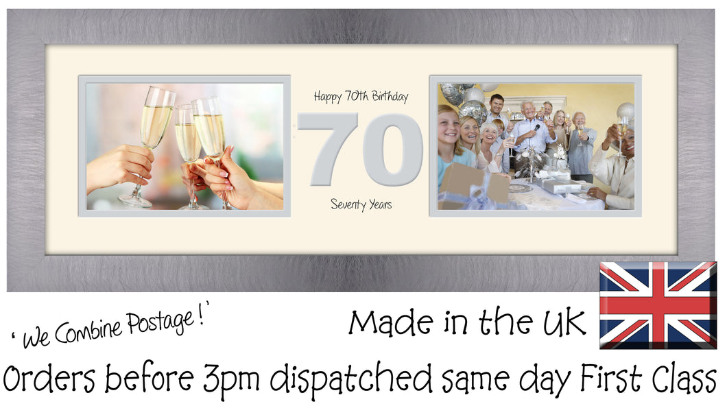 "70th Birthday Photo Frame Seventieth Gift Takes Two 6""x4"" Landscape Photos 1228A 450mm x 151mm mount size  , Choices of frames & Borders"