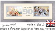 "90th Birthday Photo Frame Ninetieth Gift Takes Two 6""x4"" Landscape Photos 1230A 450mm x 151mm mount size  , Choices of frames & Borders"