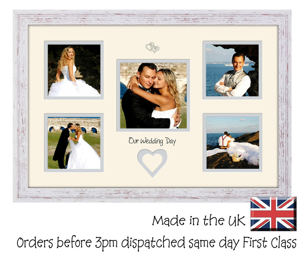Our Wedding Day double mounted Photo Frame Photo size: x4 4x4 x1 5x5 Photo 698D 450mm x 297mm mount size  , Choices of frames & Borders