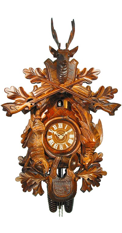 Cuckoo Clock Hunting Clock with Hanging Animals 8-Day Movement - Cuckoo Clock Meister