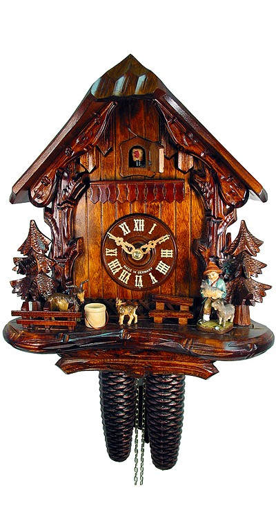 Cuckoo Clock Black Forest House with Goatherd 8-Day Movement