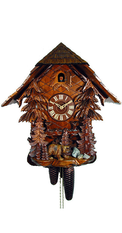 Cuckoo Clock Black Forest House with Trees and Bear 8-Day Movement - Cuckoo Clock Meister