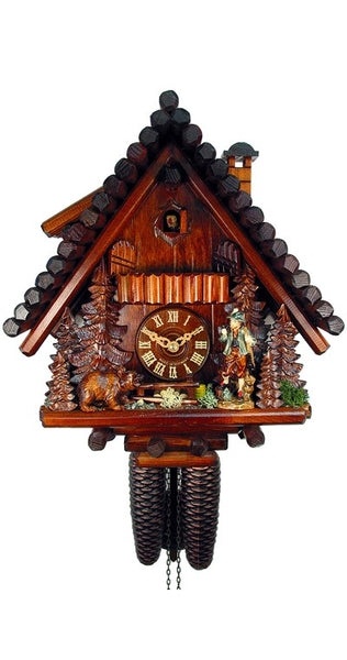 Cuckoo Clock Black Forest House with Hunter and Bear 8-Day Movement