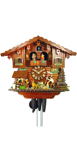 Cuckoo Clock Bavarian House with Lumberjack 1-Day Movement Music