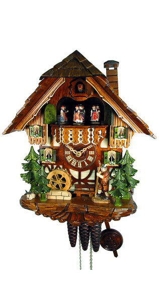 Cuckoo Clock Timbered Black Forest House Wanderer 1-Day Music