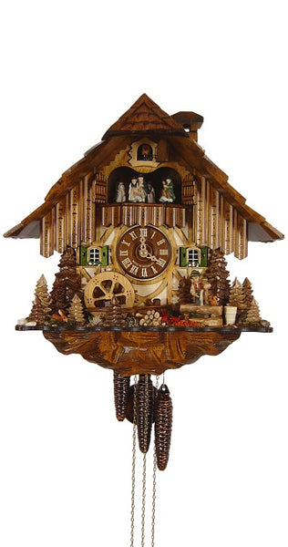 Cuckoo Clock Black Forest House with Well and Mill Wheel 1-Day with Music - Cuckoo Clock Meister