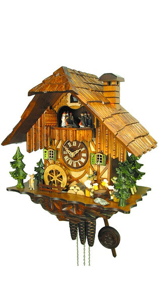 Cuckoo Clock Black Forest House with Wheel and Beer Drinkers 1-Day with Music - Cuckoo Clock Meister