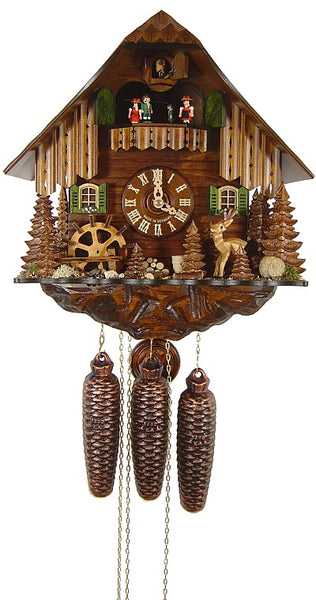 Cuckoo Clock Black Forest House with Deer and Mill Wheel 8-Day with Music