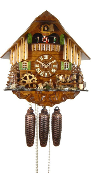 Cuckoo Clock Black Forest House with Cow and Mill Wheel 8-Day with Music