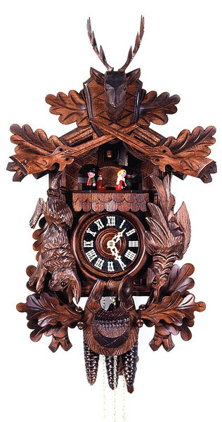Cuckoo Clock Hunting Clock with Hanging Animals 8-Day Music