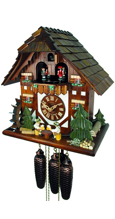Cuckoo Clock Black Forest House Two Beer Drinkers 8-Day with Music