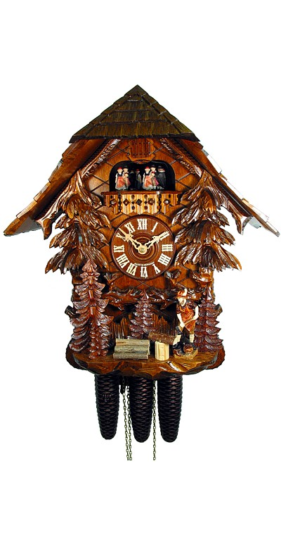 Cuckoo Clock Black Forest House with Lumberjack 8-Day with Music - Cuckoo Clock Meister