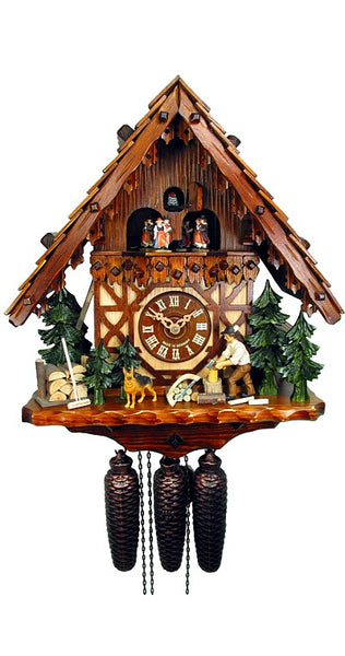 Cuckoo Clock Black Forest House Lumberjack 8-Day Movement with Music - Cuckoo Clock Meister