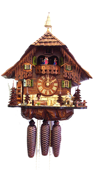 Cuckoo Clock Black Forest House with Mill Wheel 8-Day with Music