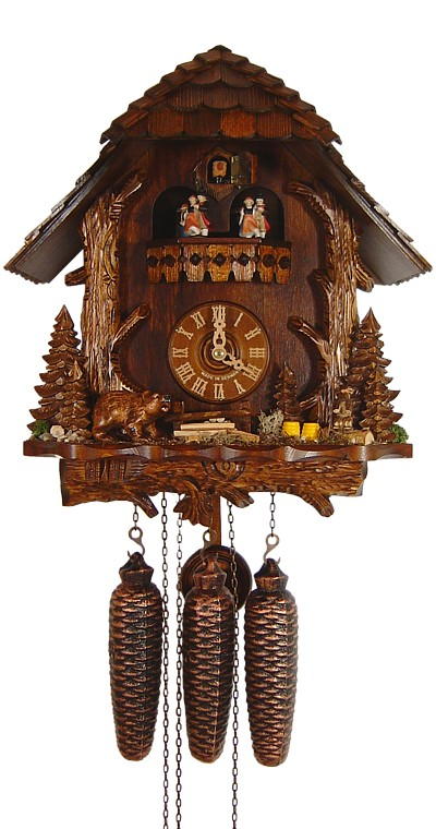 Cuckoo Clock Black Forest House with Trunk, Bear and Marmot 8-Day Music - Cuckoo Clock Meister