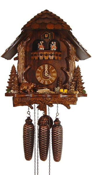 Cuckoo Clock Black Forest House with Trunk, Bear and Marmot 8-Day Music