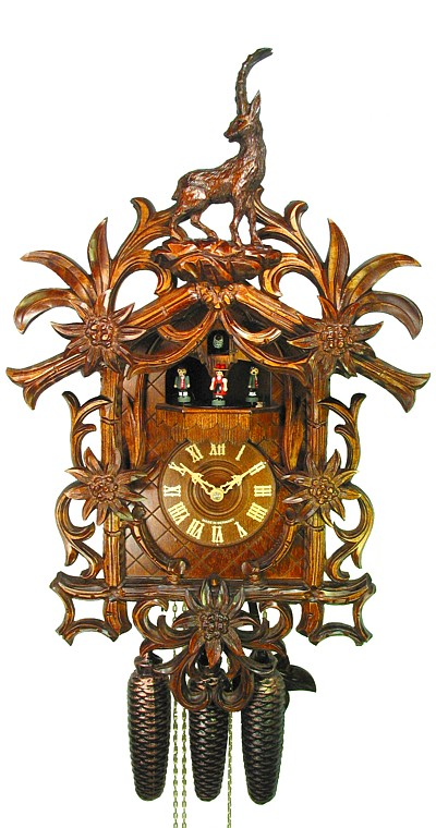 Cuckoo Clock Edelweiss and Ibex 8-Day Movement with Music - Cuckoo Clock Meister